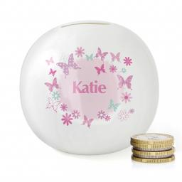 Personalised Pink Butterfly Bone China Moneybox