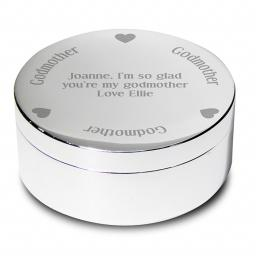 Personalised Godmother Round Trinket Box Heart Motif