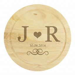 Personalised Monogram Large Cheese Board with Cheese Knives