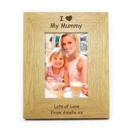Personalised 6x4 I Heart Wooden Photo Frame Portrait