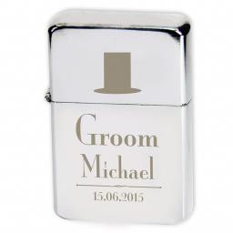 Personalised Lighter Wedding Top Hat Groom