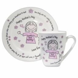 Personalised Worlds Best Mum Breakfast in Bed Mug and Plate Set