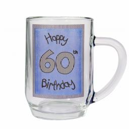 Blue 60th Happy Birthday Tankard Glass