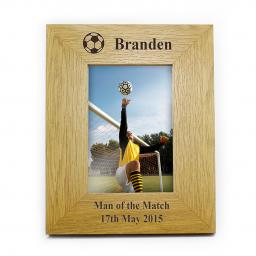 Personalised 6x4 Football Motif Wooden Frame