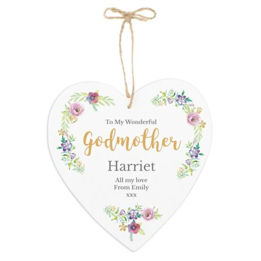 Personalised Floral Watercolour Any Role 22cm Large Wooden Heart Decoration