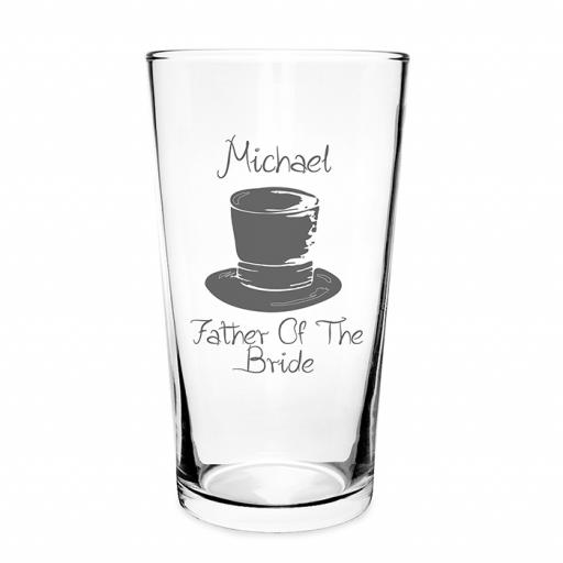 Personalised Top Hat Wedding Pilsner Glass Male Role