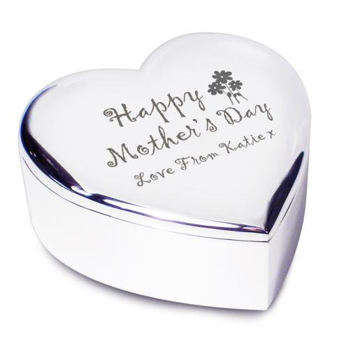 Personalised Happy Mothers Day Heart Trinket Box Flowers Motif