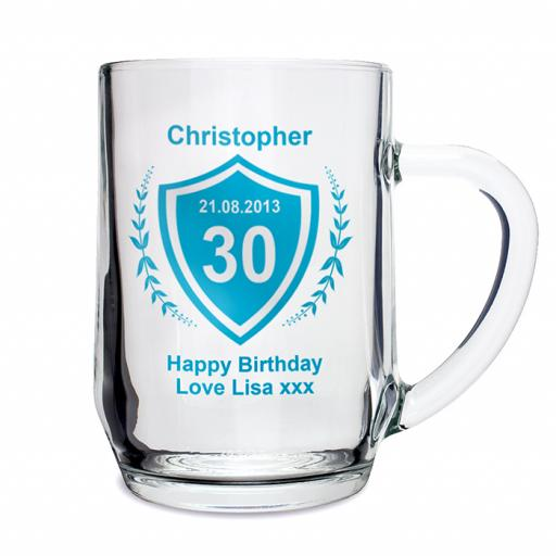 Personalised Age and Crest Design Glass Tankard