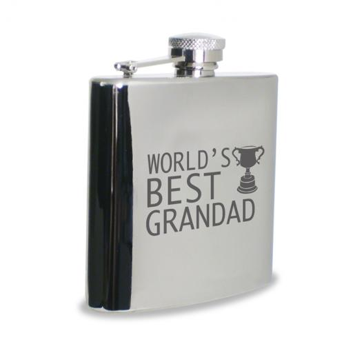 World's Best Grandad 6 oz Stainless Steel Hipflask Trophy Motif