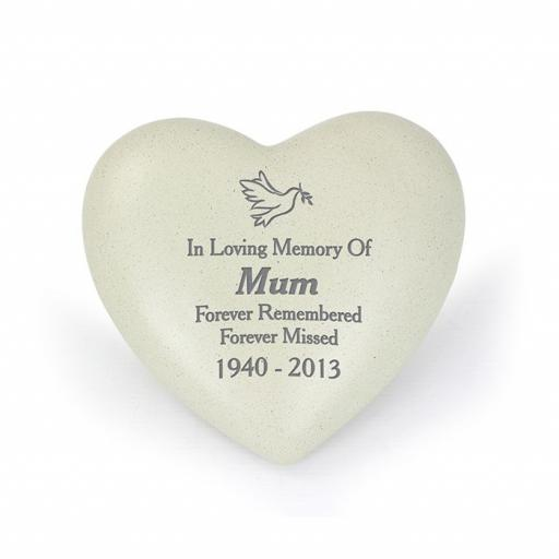 Personalised Dove Memorial Heart