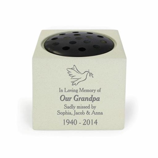 Personalised Dove Memorial Rose Bowl Vase