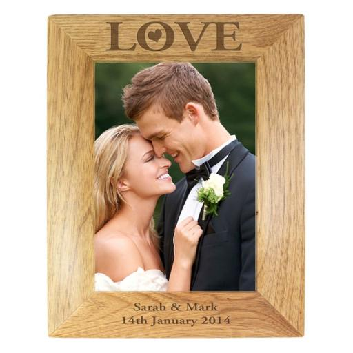Personalised 7x5 Wooden Photo Frame LOVE