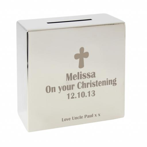 Personalised Engraved Square Silver Moneybox Cross Motif