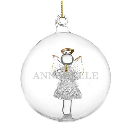 Personalised Christmas Tree Bauble Glass Angel Add Name