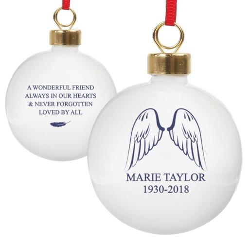 Personalised Christmas Tree Bauble Angel Wings