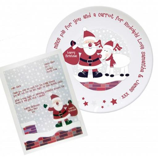 Personalised Christmas Rooftop Santa Mince Pie Plate and Letter