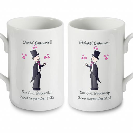 Personalised Cartoon Male Couple Civil Wedding Pair Mugs Set