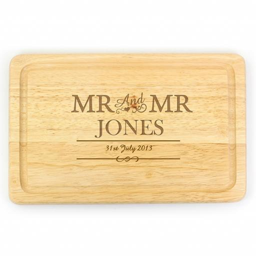 Personalised Wooden Engraved Mr & Mr Rectangular Chopping Board