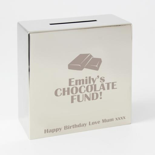 Personalised Engraved Square Silver Moneybox Chhocolate Motif