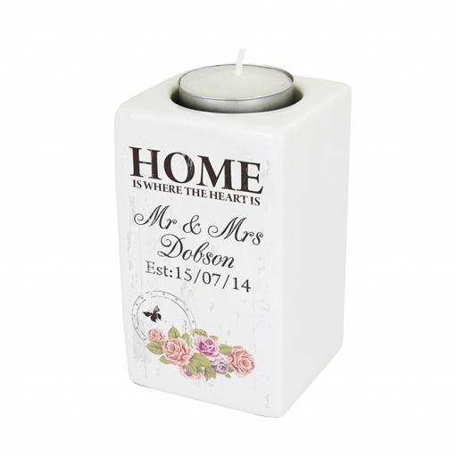 Personalised Shabby Chic HOME IS WHERE THE HEART IS Ceramic Tealight Candle Holder