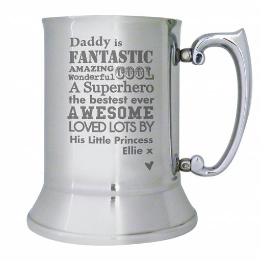 Personalised He is... Stainless Steel Tankard