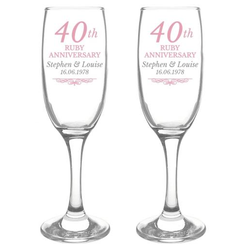 Personalised 40th Ruby Anniversary Pair of Flutes
