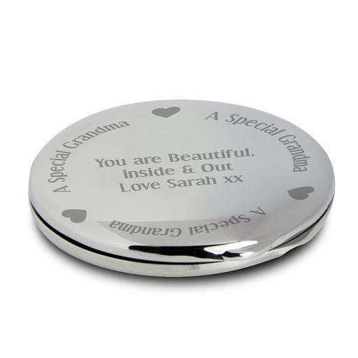 Personalised Grandma Round Compact Mirror & Pouch Hearts Motif