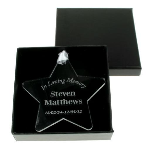 Personalised Acrylic Star Hanging Decoration In Loving Memory