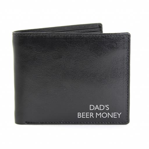 Personalised Message Black Leather Wallet