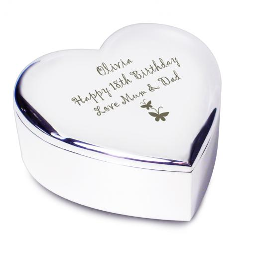 Personalised Heart Shaped Trinket Box Butterfly Motif