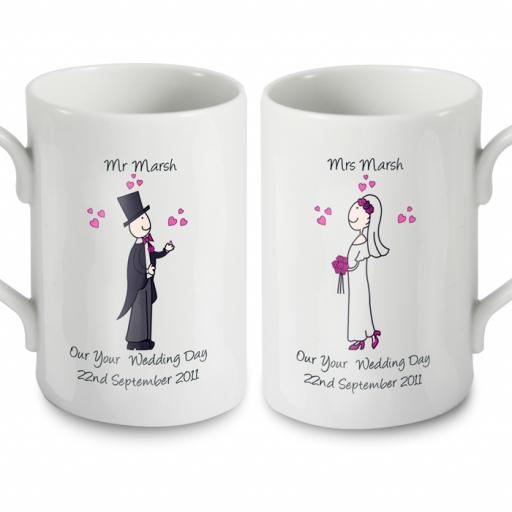 Personalised Cartoon Bride & Groom Couple Wedding Pair Mugs Set