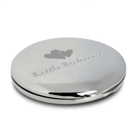 Little Bridesmaid Round Compact Mirror & Pouch Heart Motif