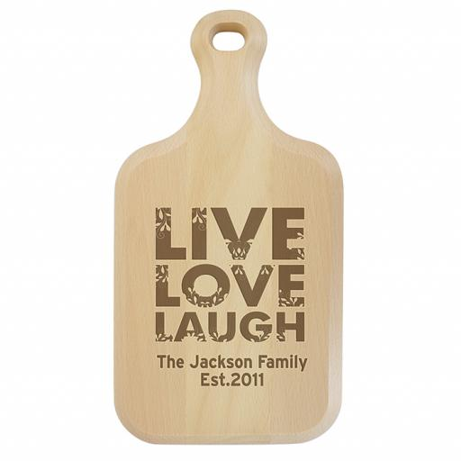 Personalised Live Love Laugh Large Paddle Chopping Board