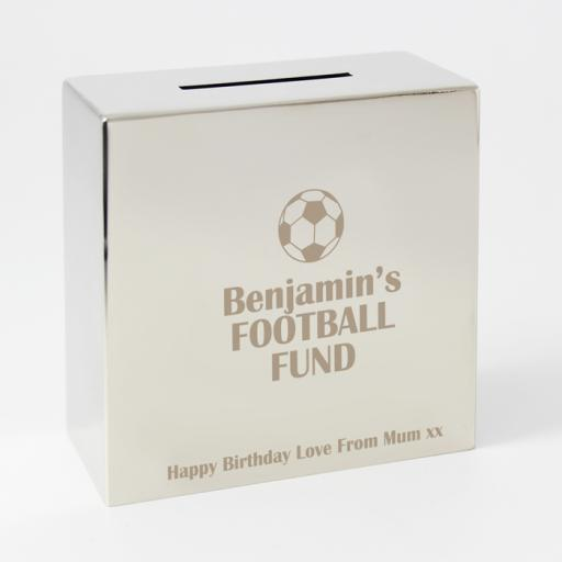 Personalised Engraved Square Silver Moneybox Football Motif