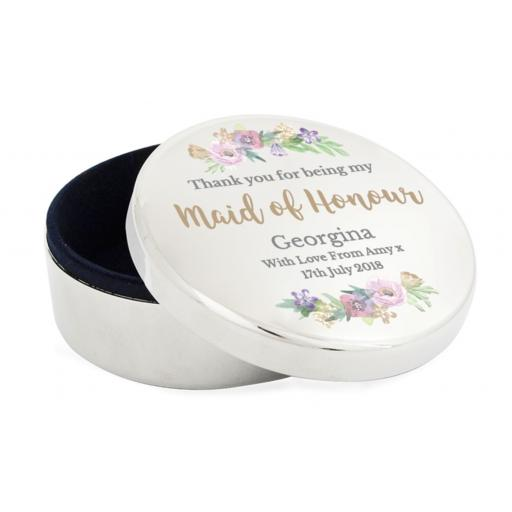 Personalised Floral Watercolour Maid of Honour Wedding Round Trinket Box