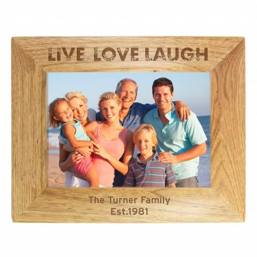"Personalised 5x7 Wooden Frame "" Live Laugh Love """