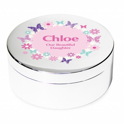 Personalised Pink Butterfly Round Trinket Box