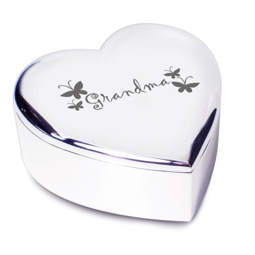 Grandma Heart Trinket Box Butterfly Motif