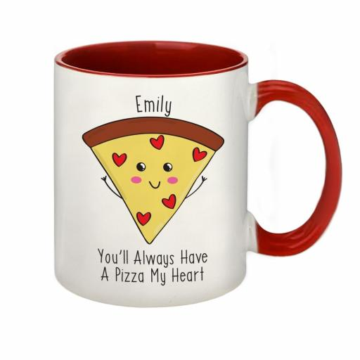 Personalised Pizza My Heart Red Inside Mug