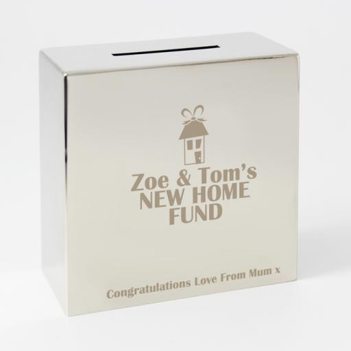 Personalised Engraved Square Silver Moneybox House Motif