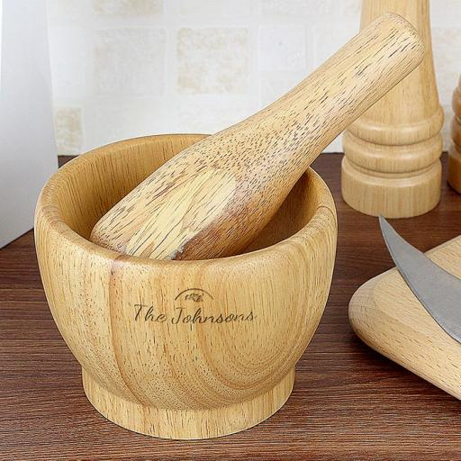 Personalised Wooden Pestle And Mortar Full of Love