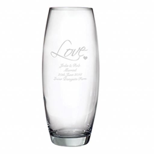 Personalised LOVE Glass Bullet Vase