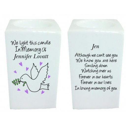 Personalised Bone China Dove Memorial Tealight Holder