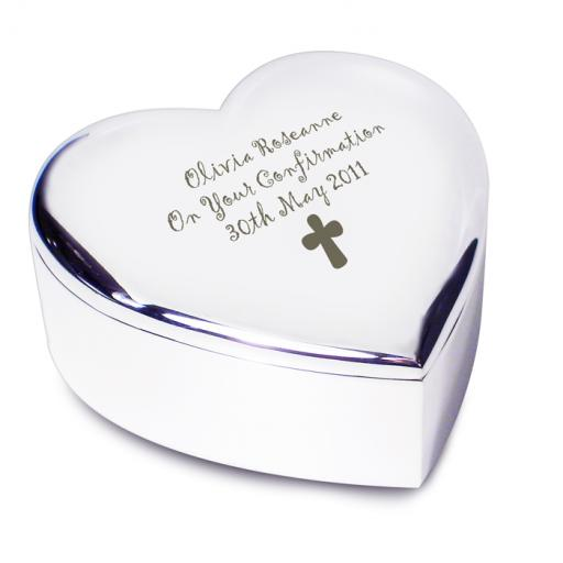 Personalised Heart Trinket Box Cross Motif