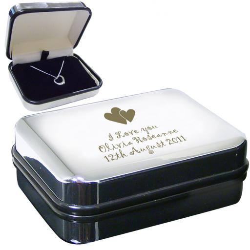 Sterling Silver Heart Necklace & Engraved Personalised Box Heart Motif