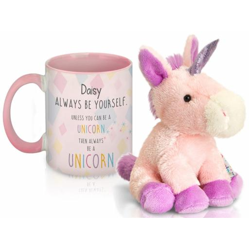 Personalised Always Be A Unicorn Mug With Plush Unicorn