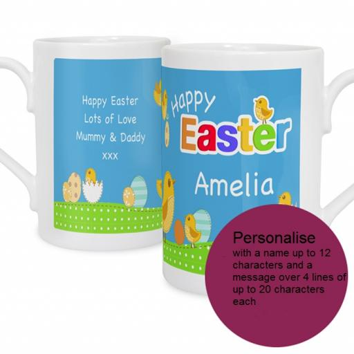 Personalised Happy Easter Chick Mug Blue