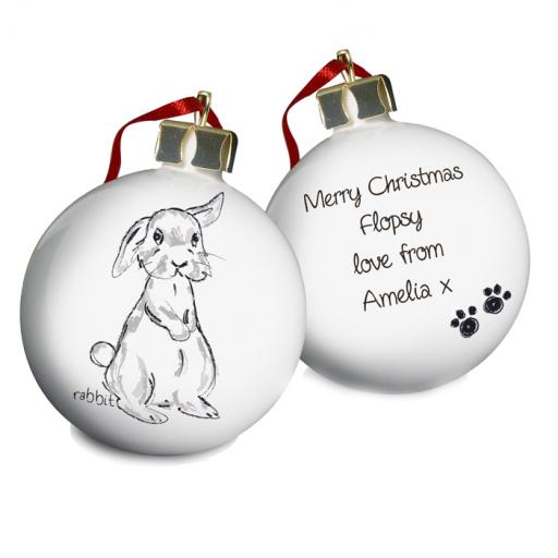 Personalised Christmas Tree Bauble Bunny Rabbit