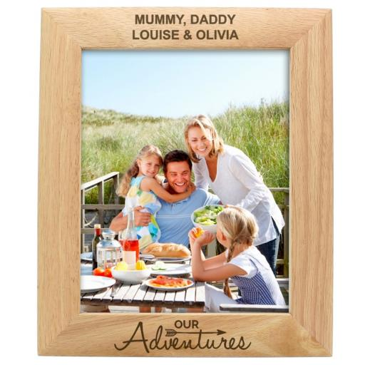 Personalised 10x8 Our Adventures Wooden Portrait Photo Frame