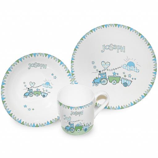 Personalised Train Bunting Breakfast Set